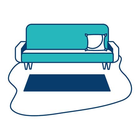 living room sofa cushion carpet furniture decoration interior vector illustration green and blue design Ilustração