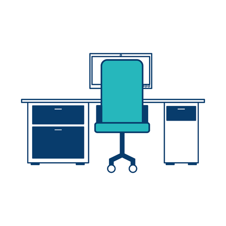 workspace office desk computer armchair view back vector illustration green and blue design
