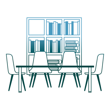 library with bookshelves and desk with chairs vector illustration gradient color design Çizim