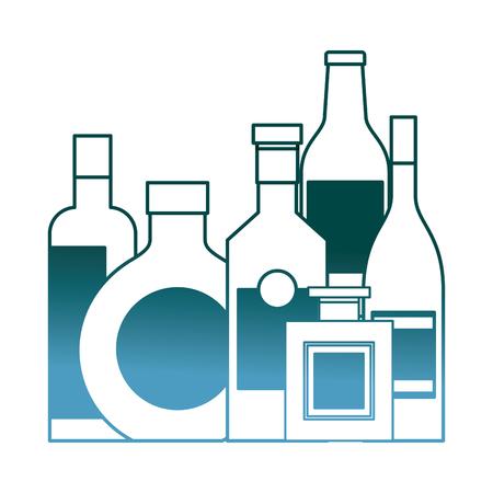 collection bottles liquor beverage drink vector illustration gradient color design Illustration