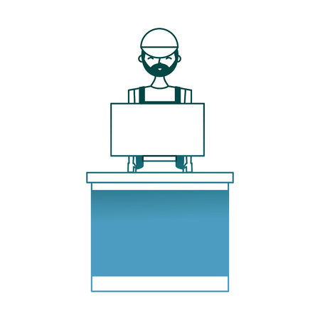 barista male in uniform standing behind cash register vector illustration gradient color design