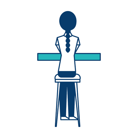 back view young woman sitting on stool and counter vector illustration green and blue design