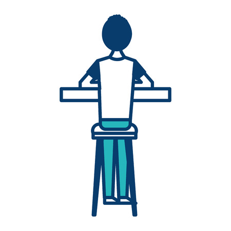 back view cartoon man sitting on stool and counter vector illustration green and blue design