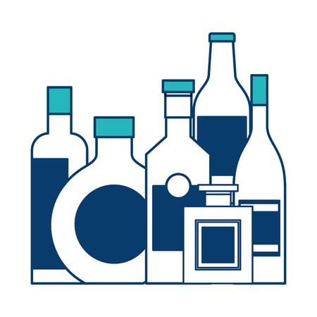 collection bottles liquor beverage drink vector illustration green and blue design