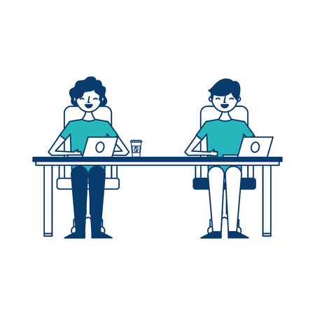 happy young men sitting working with laptop and coffee cups vector illustration green and blue design