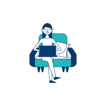 happy woman sitting in the sofa with her laptop vector illustration green and blue design Ilustração