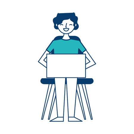 young man sitting using her laptop vector illustration green and blue design