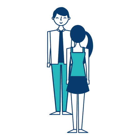couple standing looking at each other vector illustration green and blue design