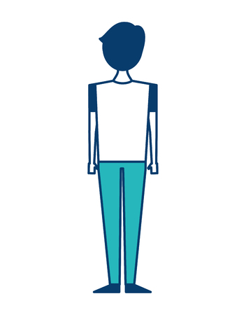 back view of man standing character vector illustration green and blue design Banque d'images - 97694063