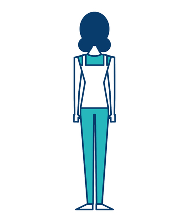 back view of woman standing character vector illustration green and blue design 일러스트