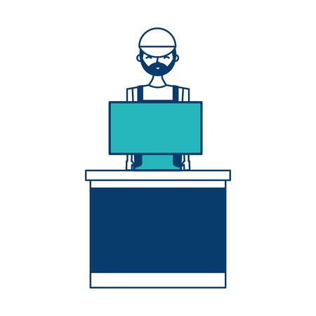 barista male in uniform standing behind cash register vector illustration green and blue design Ilustrace