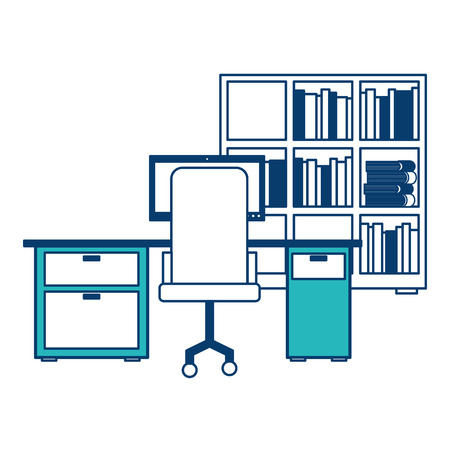 workspace office desk pc armchair bookshelf books vector illustration green and blue design