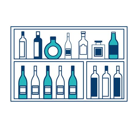 shelving furniture with different glass bottles beverages alcohol vector illustration green and blue design Illusztráció