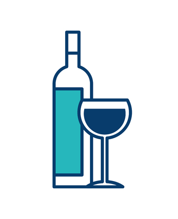 bottle liquor and wine cup image vector illustration green and blue design