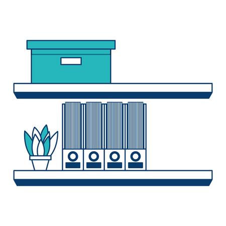 shelves carton box folder and plant in pot vector illustration green and blue design