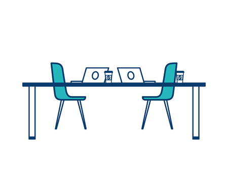 table chairs laptop computers and disposable coffee cups vector illustration green and blue design