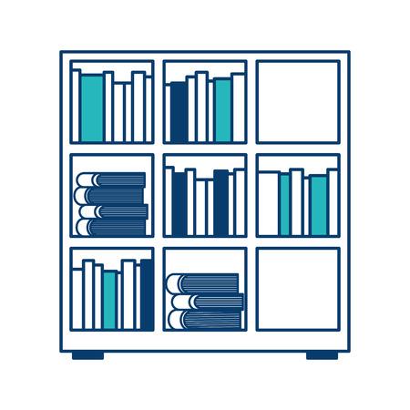 Estantería y enciclopedia de libros leer ilustración vectorial diseño verde y azul Foto de archivo - 97718312