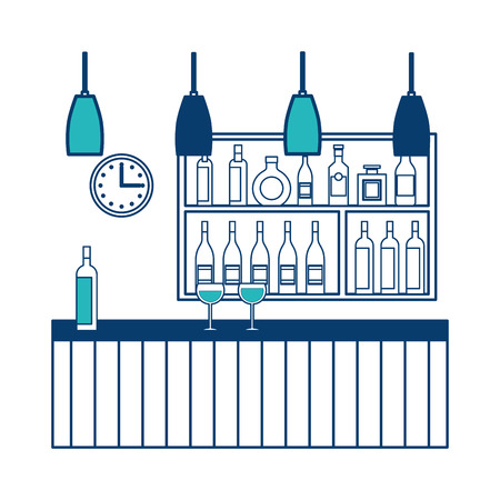 bar restaurant interior shelf counter beverage alcohol and glass cups vector illustration green and blue design