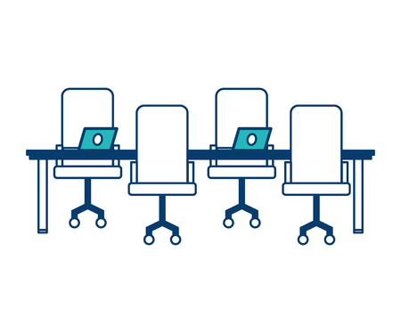 workspace meeting table chairs and laptop computers vector illustration green and blue design Illustration
