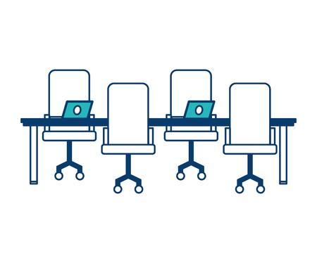 werkruimte vergadering tafel stoelen en laptop computers vector illustratie groen en blauw ontwerp