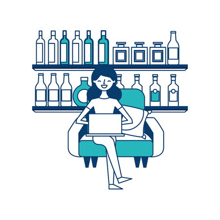 happy woman sitting in the sofa laptop and shelf with bottle glass beverages vector illustration green and blue design Standard-Bild - 97718319