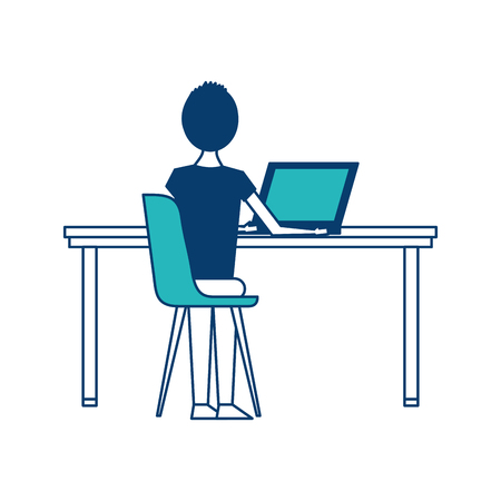 people sitting on chair desk computer workspace vector illustration green and blue design