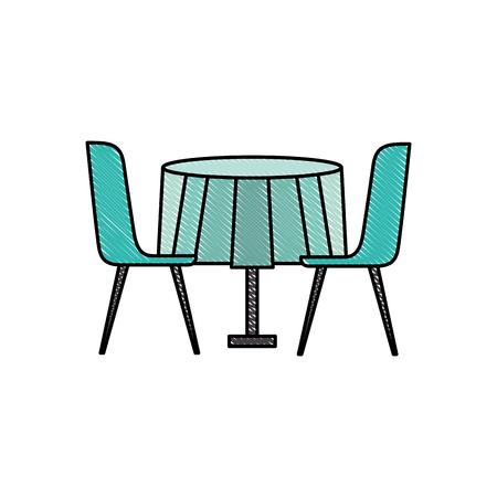 家具レストランペアチェアとラウンドテーブルベクトルイラスト