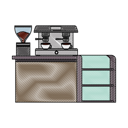 bar counter machine make coffee espresso vector illustration