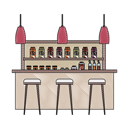 coffee shop interior products shelving counter lamps vector illustration Banque d'images - 97722312