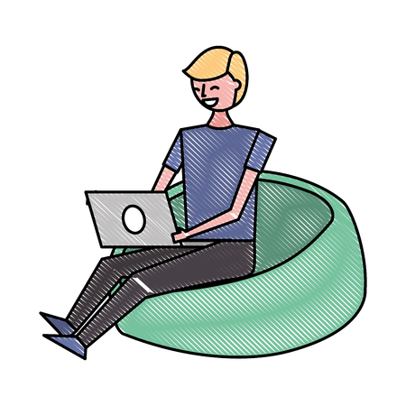 young man sitting working with laptop on bean bag vector illustration