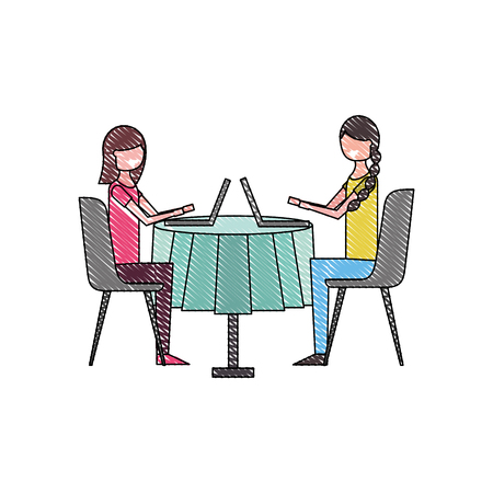 girls people sitting at the table using laptop vector illustration