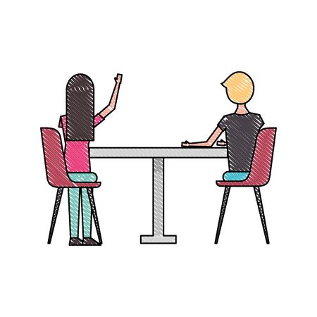 paar zittend op de stoelen en tafel te bekijken vanaf de achterkant vector illustratie Stock Illustratie