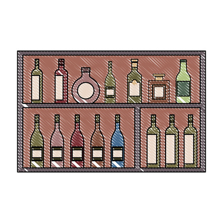 shelving furniture with different glass bottles beverages alcohol vector illustration Illustration