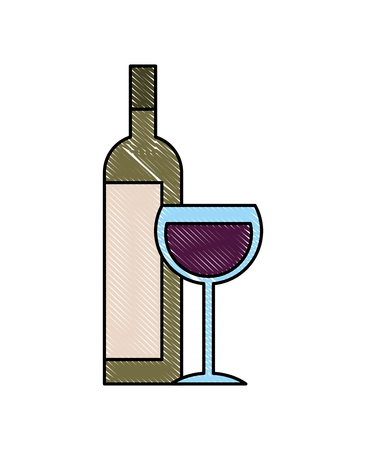 bottle liquor and wine cup image vector illustration