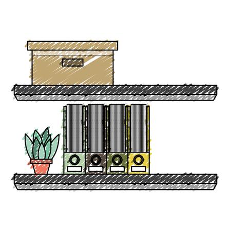 shelves carton box folder and plant in pot vector illustration
