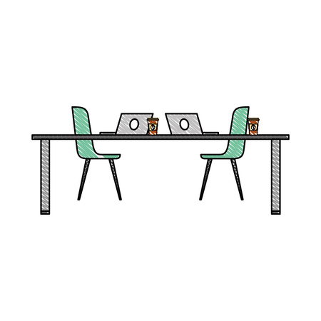 table chairs laptop computers and disposable coffee cups vector illustration Illusztráció