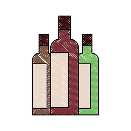 liquor bottles drink beverage alcohol vector illustration