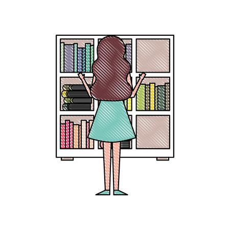 bookshelf young woman choosing a book back view vector illustration Stock Illustratie