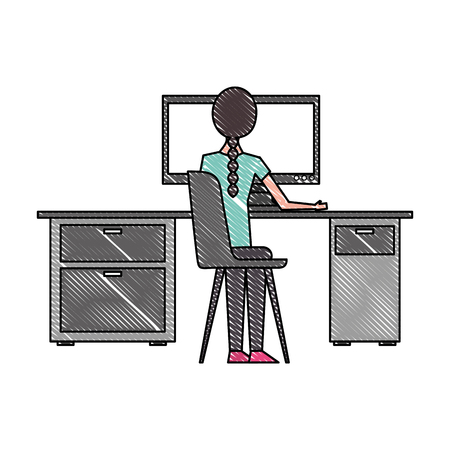 young woman working in desk with computer back view vector illustration