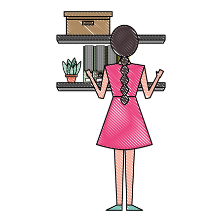young woman looking shelf with box plant and folders a back view vector illustration