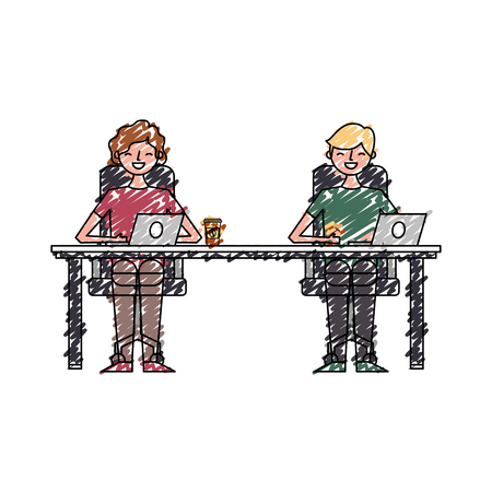 happy young men sitting working with laptop and coffee cups vector illustration