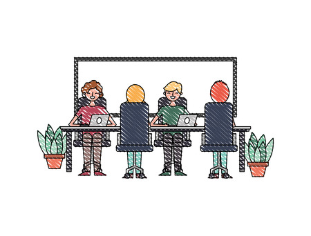office team of employees working on their laptops at the table potted plants and board vector illustration
