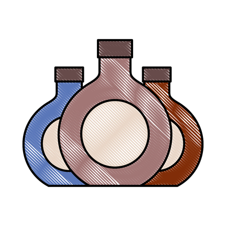 three round bottle liquor beverage vector illustration