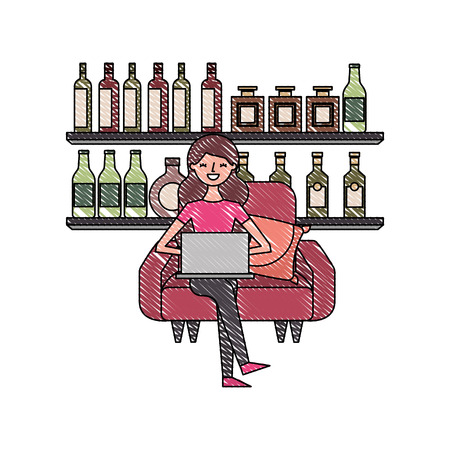 happy woman sitting in the sofa laptop and shelf with bottle glass beverages vector illustration Standard-Bild - 97722364
