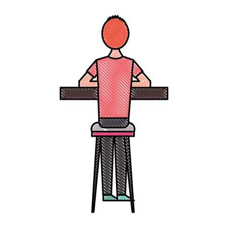 back view cartoon man sitting on stool and counter vector illustration Illustration