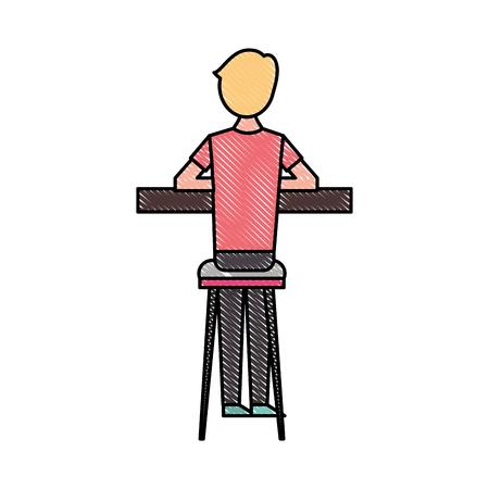 スツールとカウンターベクターイラストに座っているバックビュー漫画の男