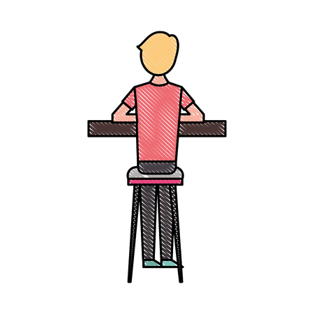 back view cartoon man sitting on stool and counter vector illustration 向量圖像