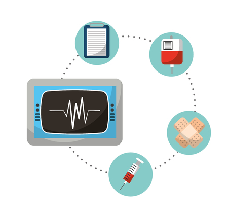 monitoring rate cardiology mecial icons vector illustration