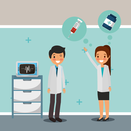 medical doctos talking monitoring machine vector illustration