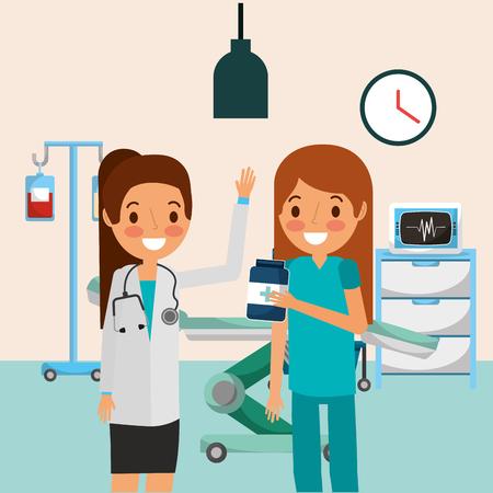 lekarz pielęgniarka butelka iv satand i ilustracji wektorowych monitorowania maszyny